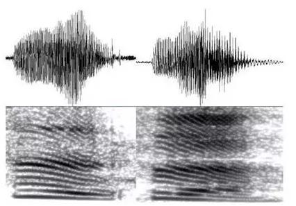 """说话人A和B都说""""四""""的波形及频谱对比"""